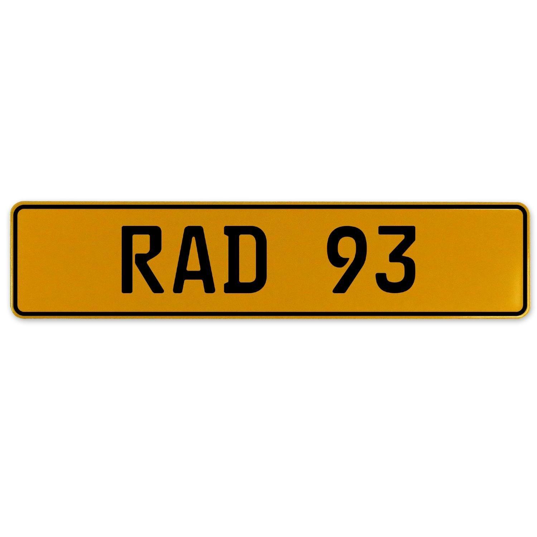 Vintage Parts 559046 Yellow Stamped Aluminum European Plate RAD 93