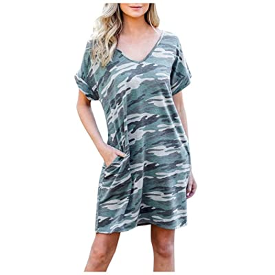 Women Summer Short Sleeve Casual Print Tunic Top Loose Pocket Dress: Clothing