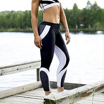 QUICKLYLY Yoga Mallas Leggins Pantalones Mujer,Womens 3D Print Yoga Skinny Workout Gym Leggings Entrenamiento Deportivo Pantalones Cortos