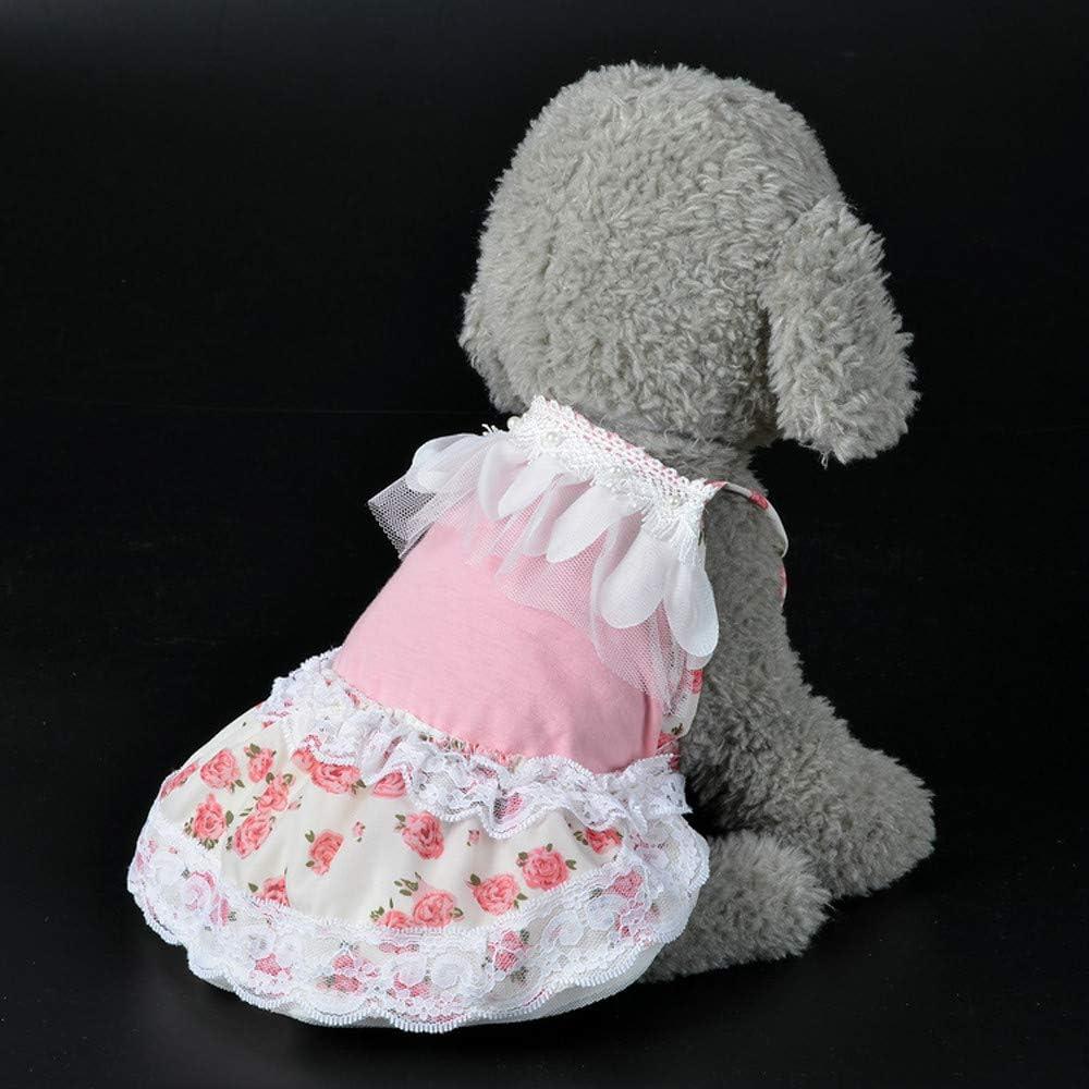 Fudule Pet Dresses Cat Dog Clothes Pet Bow Tutu Dress Puppy Dog Lace Skirt Princess Costume Apparel for Small Dogs