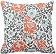 Coral and Gray Floral Pattern Throw Pillow Case Covers Flower Design Home Sofa Decorative Square 18x18 Inches