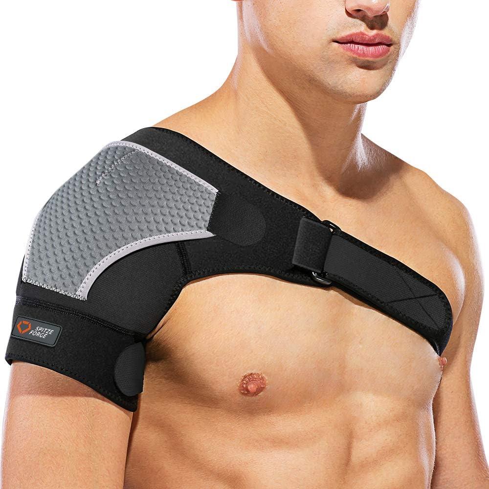Hombrera Ajustable Izquierda o Derecha, SPITZE FORGE Neopreno Unisex Compatible con Paquete Frío/ Caliente, para Prevención de Lesiones, Articulación CA Dislocada, Hombro Congelad