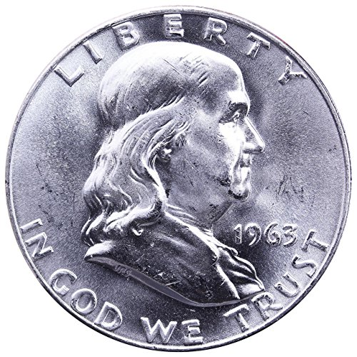 1963 D Beautiful Brilliant Uncirculated Franklin Half 90% Silver Coin 1/2 BU