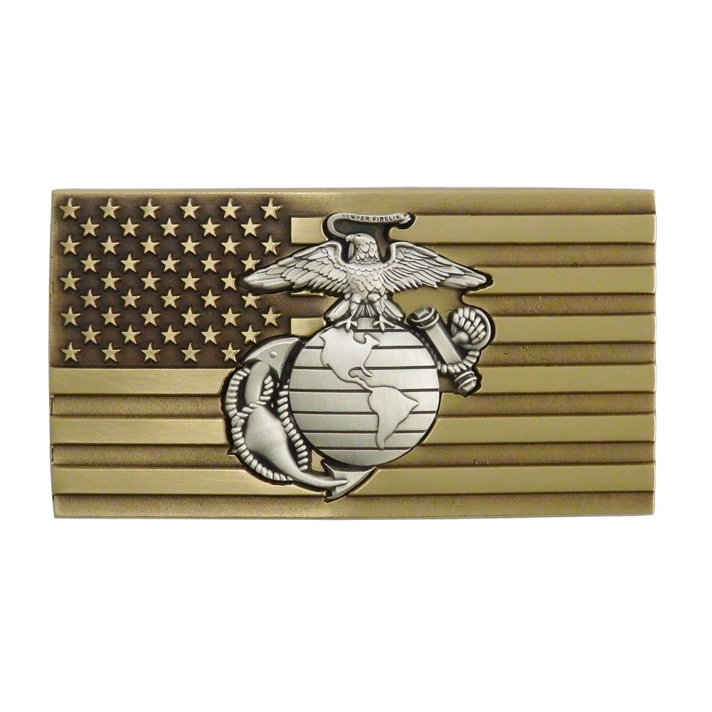 Indiana Metal Craft US Marine Corps Solid Brass Belt Buckle with Embedded Pewter EGA Emblem. Made in USA.