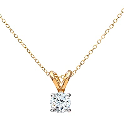 Naava womens 9 ct white gold 025 ct single stone diamond pendant naava womens 9 ct white gold 025 ct single stone diamond pendant with 46 cm yellow aloadofball Image collections