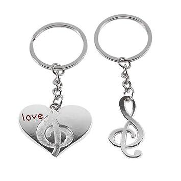 Mini plata Llavero corazon nota musical: Amazon.es: Equipaje