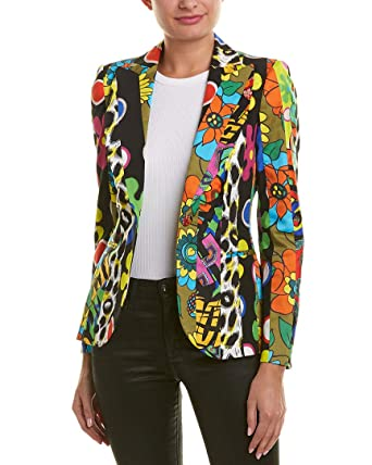 66506da80a0 MOSCHINO Womens Floral Silk Blazer, 40 Black at Amazon Women's Clothing  store:
