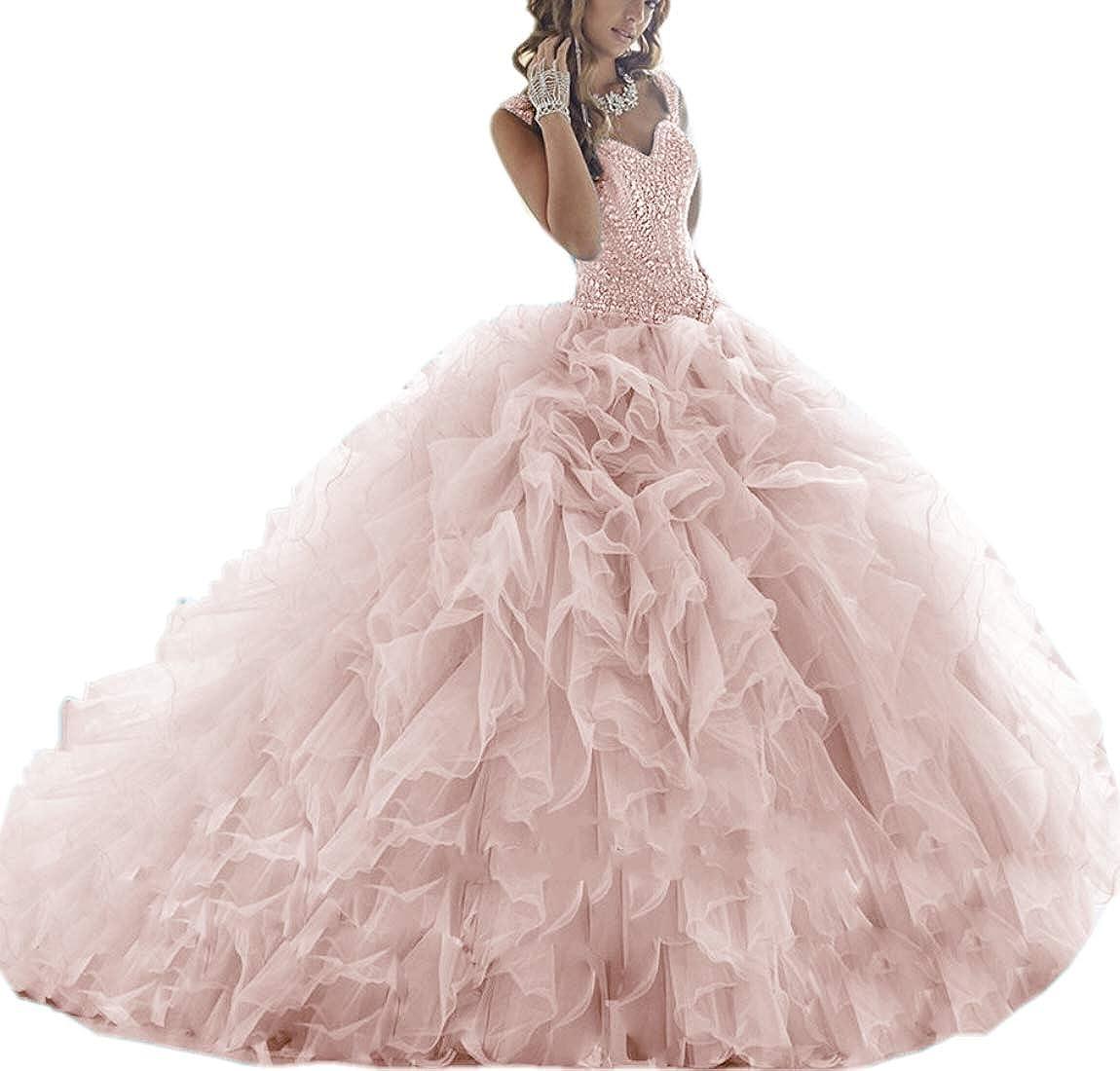 bluesh APXPF Women's Crystals Beaded Organza Ruffle Quinceanera Dress Sweet 16 Ball Gown Prom Dress