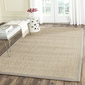 Safavieh Natural Fiber Collection NF114P Basketweave Natural and Grey Seagrass Square Area Rug (10' Square)