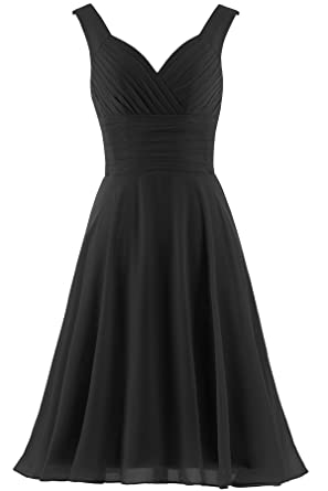 85baee018676 ANTS Women's V-Neck Chiffon Bridesmaid Dresses Short Prom Gown Size 22W US  Black