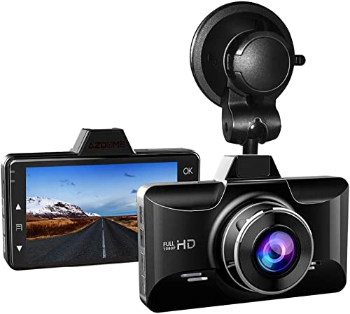AZDOME Mini Dash Cam 3 inch 2.5D IPS Screen Dashboard Car Camera 1080P FHD Driving Recorder with 170 Wide Angle, G Sensor, Parking Monitor, Loop Recording, Motion Detection