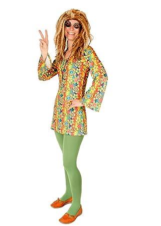 Hippie Kostum Bunt Fur Damen Grosse 36 38 1 Teilige Flower Power
