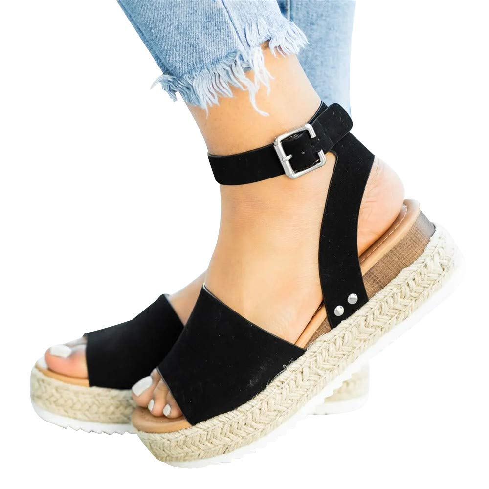 FIRENGOLI Sara Love Womens Wedges Sandal Open Toe Ankle Strap Trendy Espadrille Platform Sandals Flats Black 42