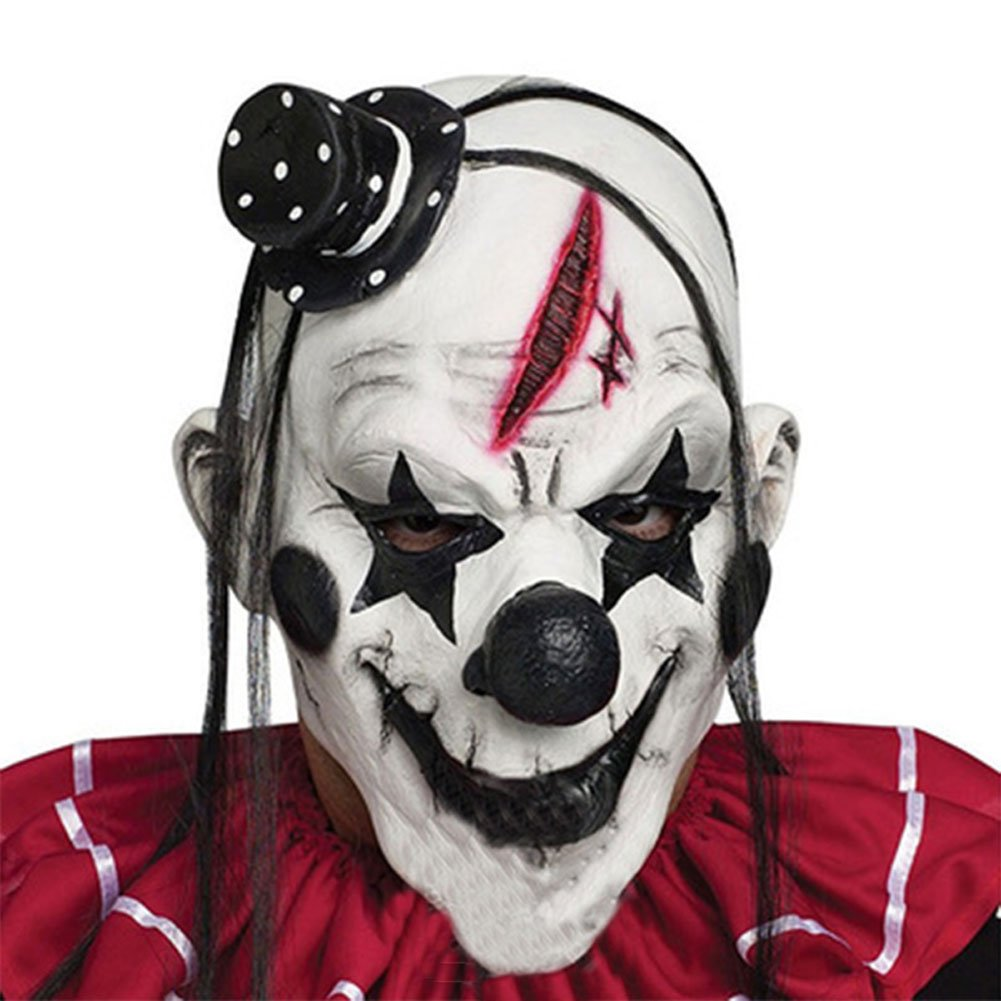 HUPLUE Halloween Clown Mask Scary Clown Head Face Mask for Costume Party Prop