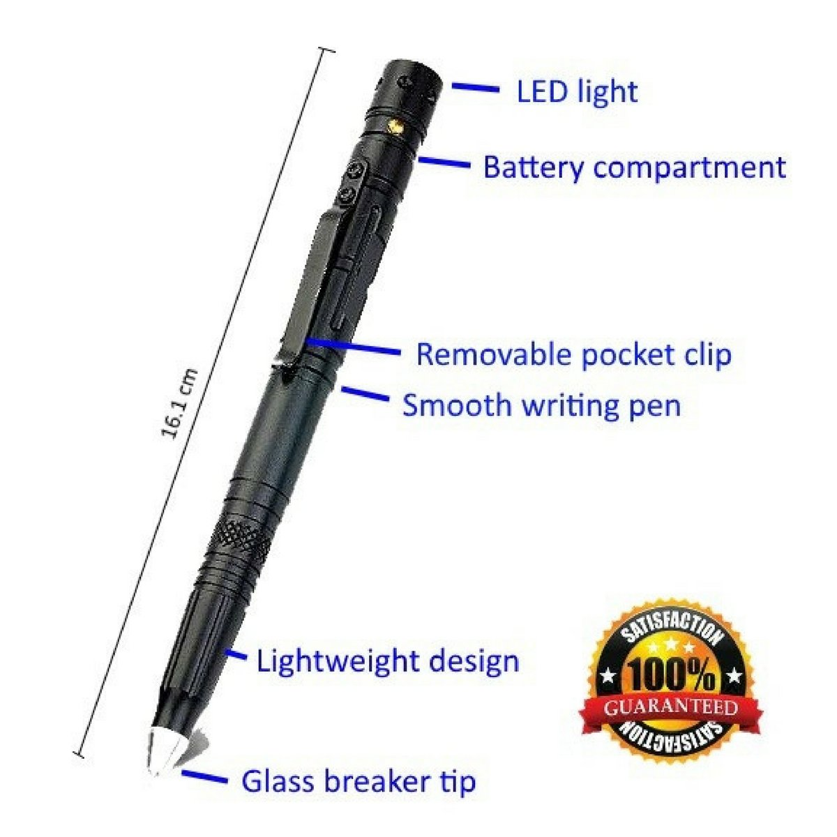 Tactical Pen for Survival and Self Defense Tool with Tungsten Tip Glass Breaker for Emergency Escape, 2017 Best Portable Military Police Defender with Bright Push Button LED Flashlight and Ballpoint