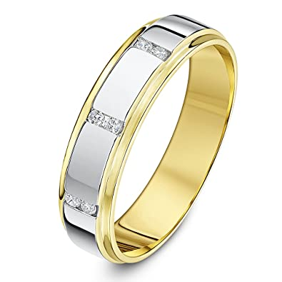 Theia Two Tone Palladium 950 and 9ct Rose Gold Court Matt and Polished Finish 6mm Wedding Ring yoPg0