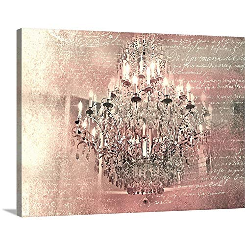 - Tracey Telik Solid-Faced Canvas Print Wall Art Print Entitled Pink Chandelier 40