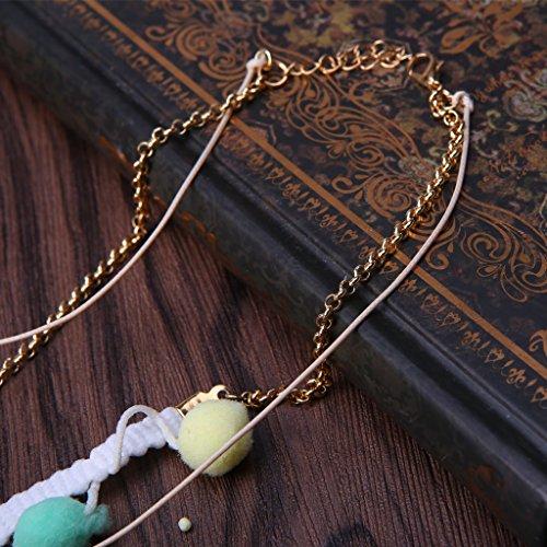 Dairyshop collana da donna Accessorio lungo sfera di pelliccia collana del pendente della nappa della ragazza delle donne di modo