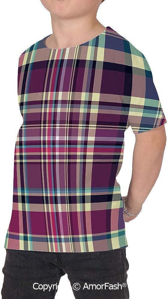 Checkered Girls Short-Sleeve Midweight T-Shirt,Polyester,Vintage Scotland Patter