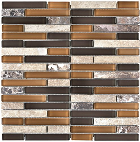 Mosaic Glass Backsplashes - 11 PIECE Sheet / Box - 1/3 inch Thickness Glass Mosaic Tile Meshed on 12 X 12 inch Tiles for kitchen backsplash mosaic tile bathroom wall glass mosaic tiles and swimming pool mosaic-1014