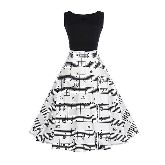 Hmeng Vestido de verano con estampado vintage de notas para mujer, sin mangas, casual
