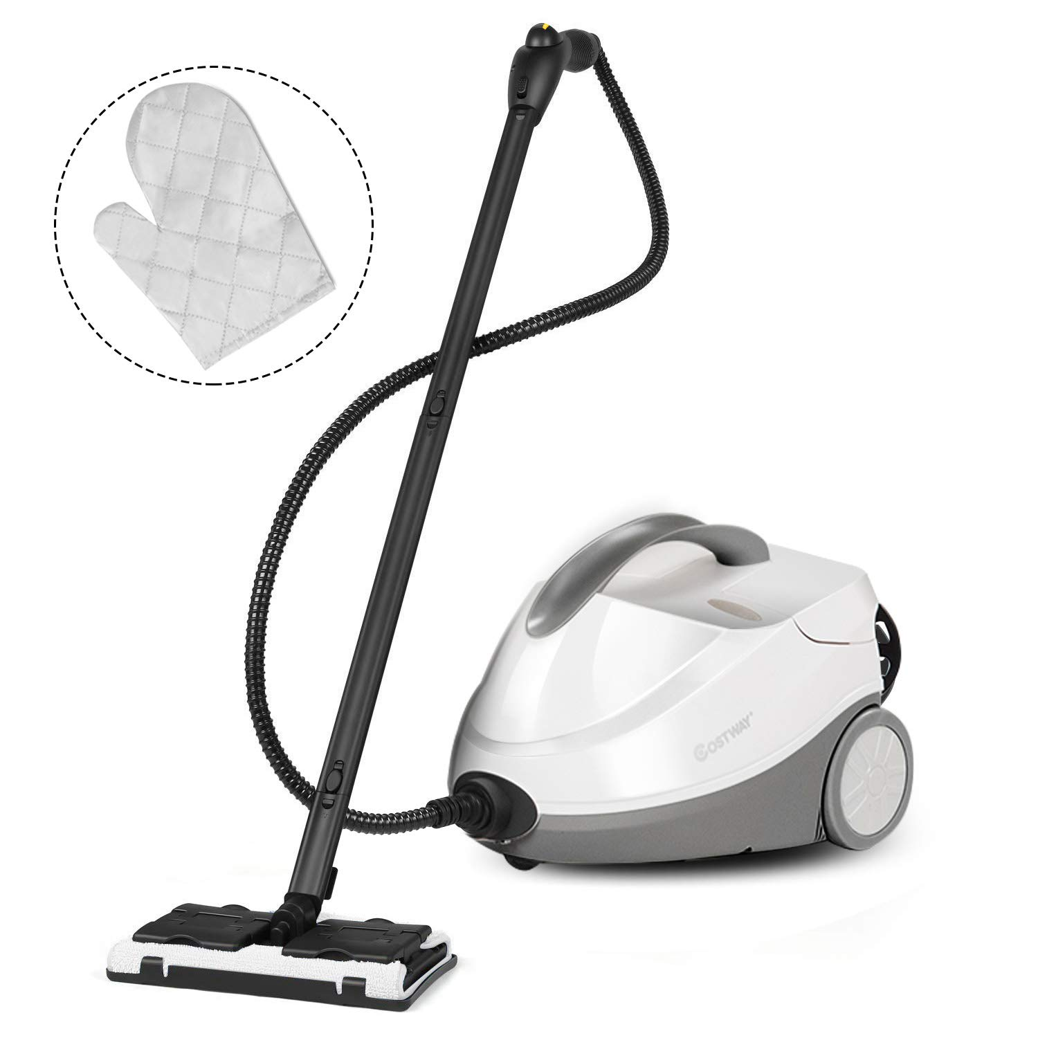 COSTWAY Multipurpose Steam Cleaner with 17 Accessories, 2000W Heavy Duty Steamer Chemical-Free Cleaning, 1.5L Dual-Tank Cleaning Machine for Carpet, Floors, Windows and Cars by COSTWAY