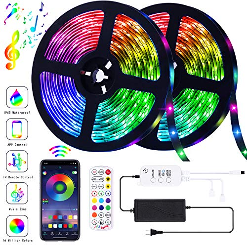 GUSODOR LED Strip Lights RGB Strips 32.8ft Tape Light 300 LEDs SMD5050 Waterproof Music Sync Color Changing + Bluetooth Controller + 24Key Remote Control Decoration for Home TV Party - APP Controlled (App To Change Color Of Kitchen Cabinets)