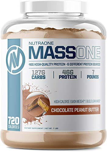 Massone Mass Gainer Protein Powder by NutraOne Chocolate Peanut Butter – 7 lbs.