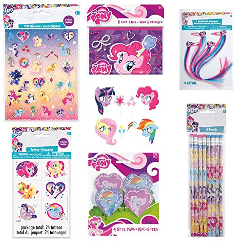 Unique My Little Pony Birthday Party Favors and Decorations | Pencils, Tattoos, Hair Clips, Photo Booth Props, Note Pads, Stickers and Loot Bags -