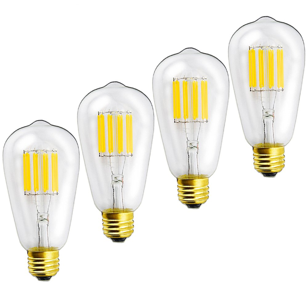 Lustaled Dimmable 10W ST21(ST64) Edison LED Filament Light Bulbs Medium E26 Base 120V LED Vintage Filament Lamps 100W Incandescent Replacement (Natural White 4000K, 4-Pack)