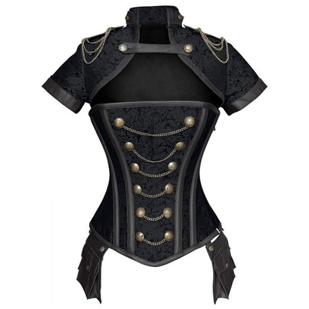 Black Women's Waist Corset Tight Steampunk Court Corset Warrior Suit with Armor Gothic Steel Bone Shaping Corset
