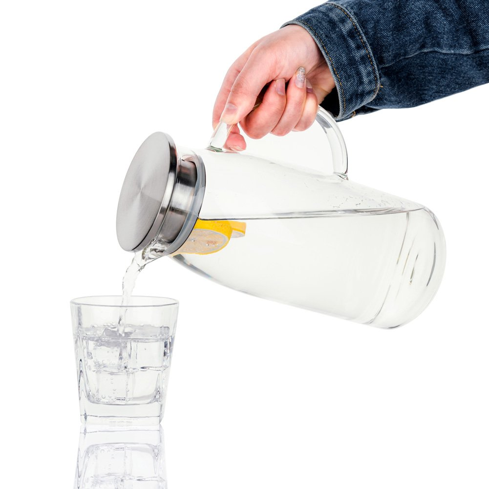 60 Ounces Glass Pitcher with Lid, Hot/Cold Water Jug, Juice and Iced Tea Beverage Carafe by Purefold (Image #3)