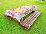 Ambesonne Kids Outdoor Tablecloth, Colorful Natural Wildlife Animal with Various Flowers Cartoon Style Thai Baby Elephant, Decorative Washable Picnic Table Cloth, 58 X 84 Inches, Multicolor