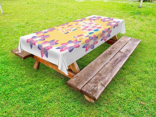 Ambesonne Kids Outdoor Tablecloth, Colorful Natural Wildlife Animal with Various Flowers Cartoon Style Thai Baby Elephant, Decorative Washable Picnic Table Cloth, 58 X 84 Inches, Multicolor by Ambesonne