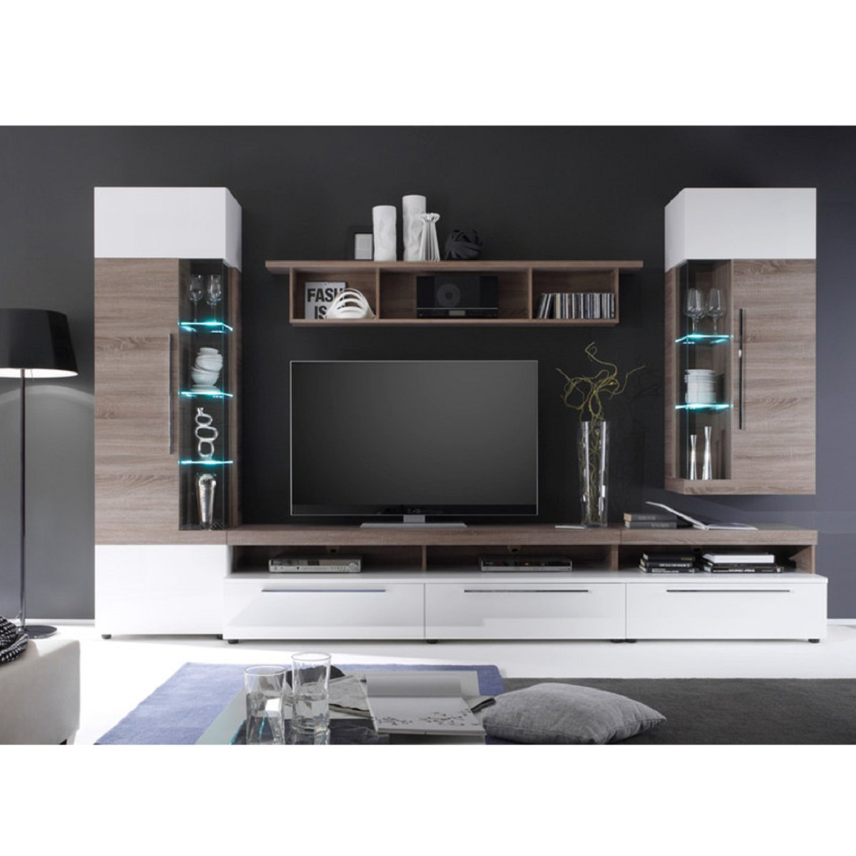 dreams4home wohnwand 39 stellar 39 optional mit beleuchtung schrank tv schrank tv element. Black Bedroom Furniture Sets. Home Design Ideas