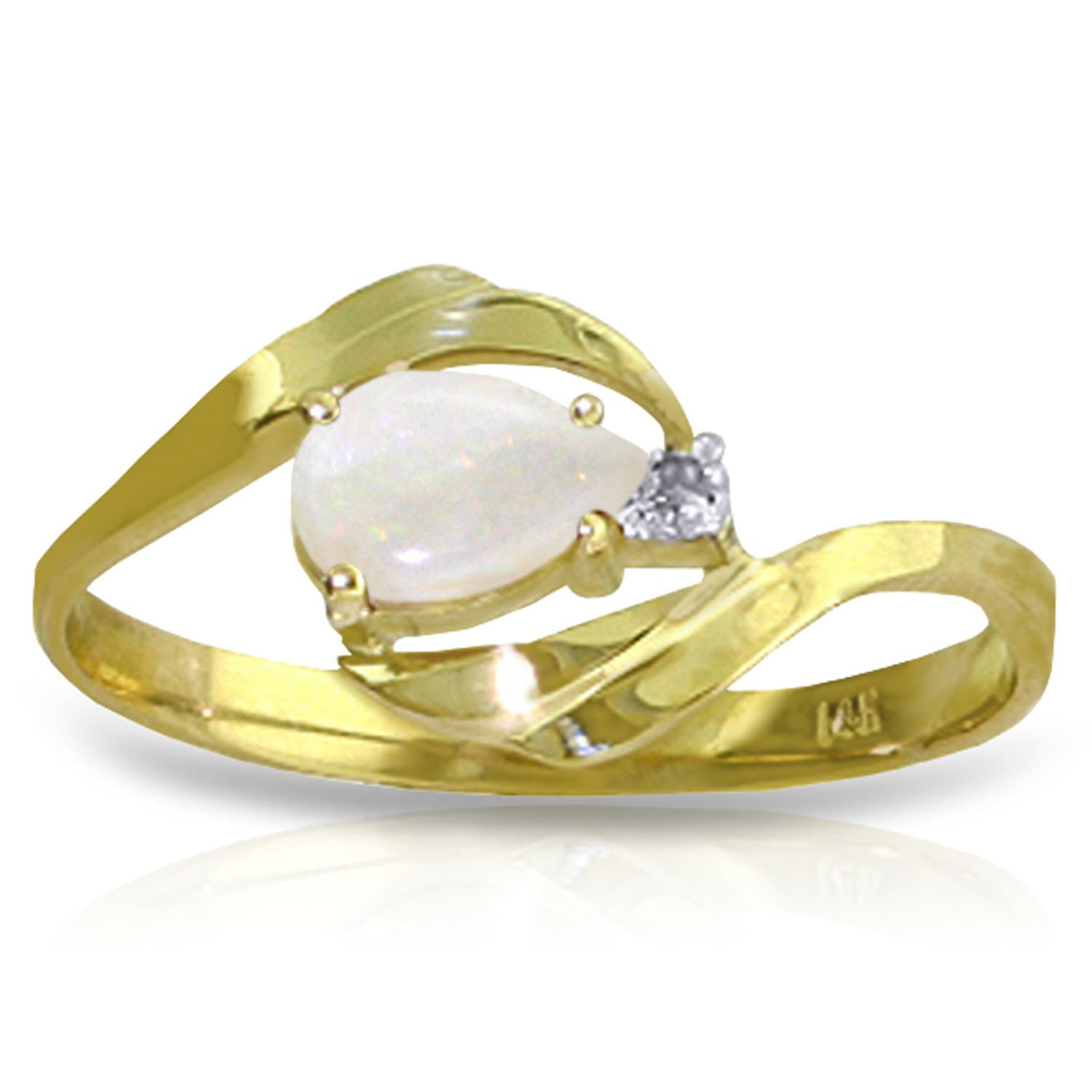 0.26 Carat 14k Solid Gold Ring with Natural Diamond and Pear-shaped Opal - Size 8.5