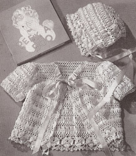 Vintage Crochet PATTERN to make - Thread Crochet Baby Set Bonnet Sacque. NOT a finished item. This is a pattern and/or instructions to make the item only.