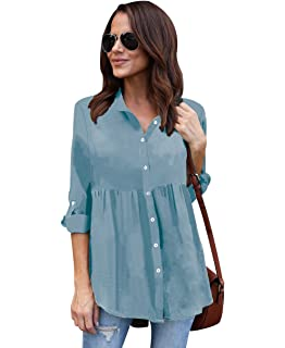 ISSHE Blusa Gasa Blusas Manga Larga Para Dama Camisas de Vestir Mujer Blusones Camisetas Largas Juveniles