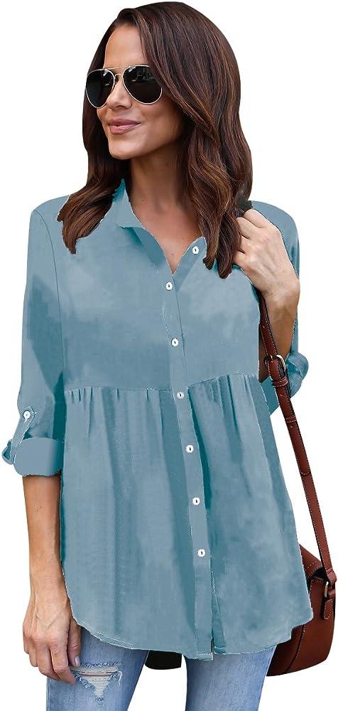 Blusa Gasa Blusas Manga Larga para Dama Camisas de Vestir Mujer Blusones Camisetas Largas Juveniles Top Cuello En V Tops Camisa Elegantes Anchas Verano Azul Eléctrico S: Amazon.es: Ropa y accesorios