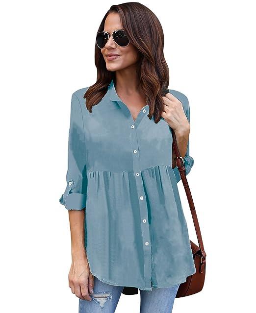 Blusa Gasa Blusas Manga Larga Para Dama Camisas de Vestir Mujer Blusones Camisetas Largas Juveniles Top