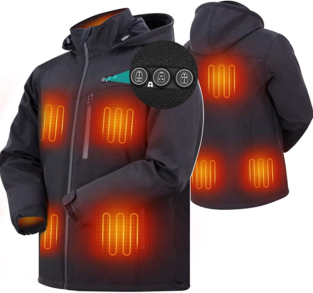ARRIS Heated Jacket for Men, Electric Warm Heating Coat with 7.4V Rechargable Battery/8 Heating Areas/Phone Charging: Clothing