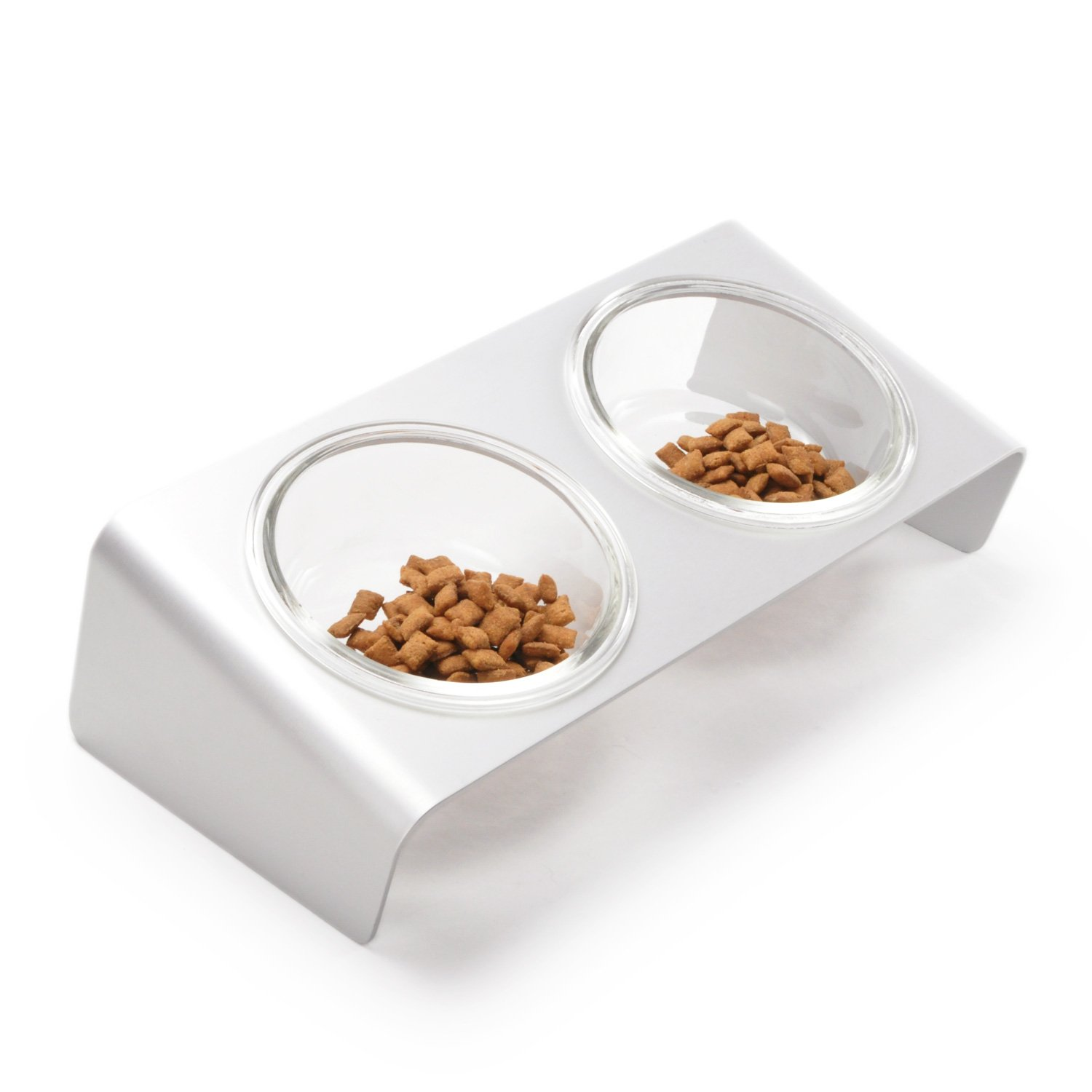 4CLAWS Elevated Cat Feeder with Glass Bowls by 4CLAWS