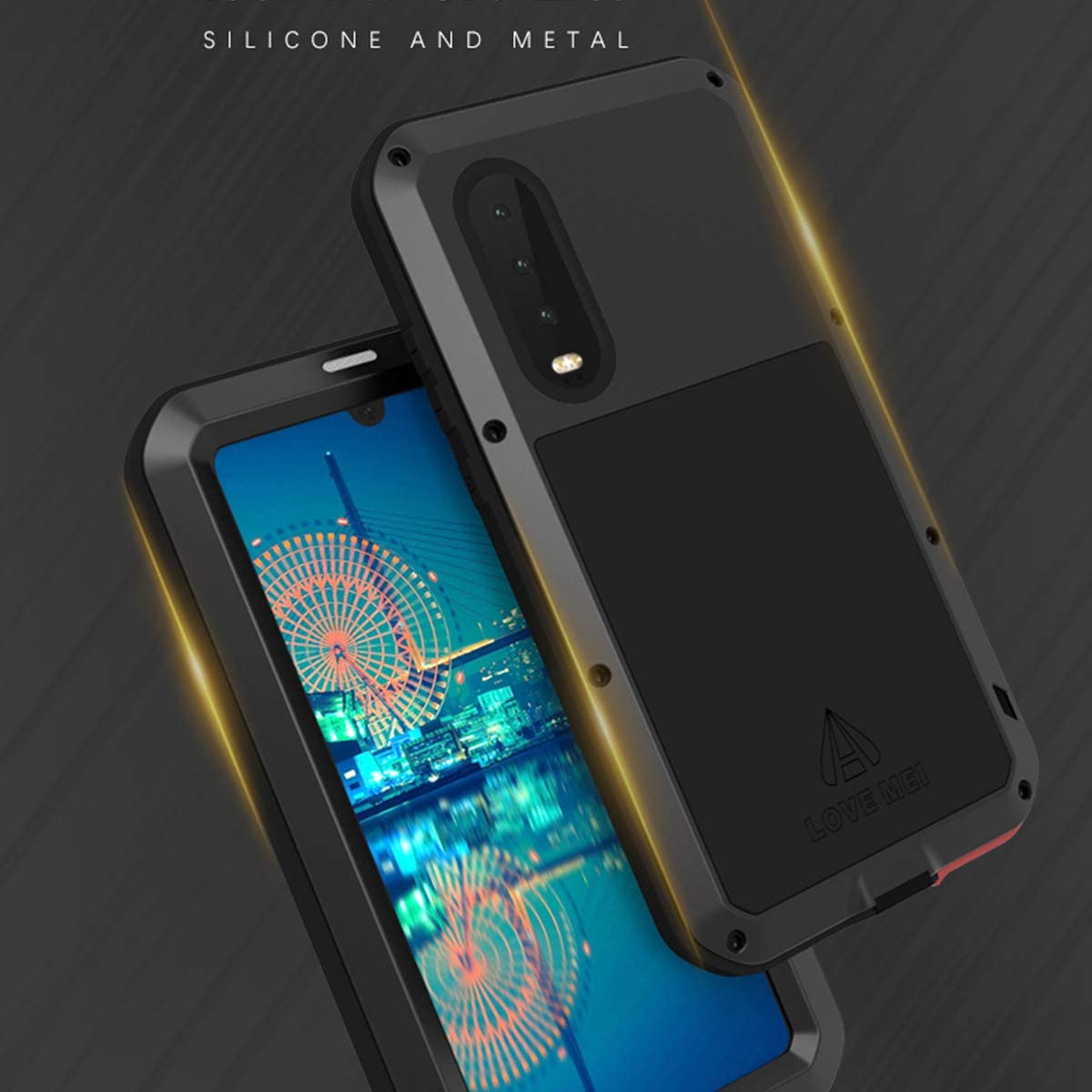Love Mei for Huawei P30 Metal Armor Case P30, Yellow Heavy Duty Cover Metal Aluminum Tempered Gorilla Glass Water Resistant Dirtproof Protective Case for P30 6.1