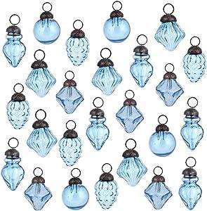 Indian Shelf Handcrafted 25 Piece Glass Assorted Blue Party Event Decor Christmas Hanging X-mas Tree Balls Ornament Designer Gift