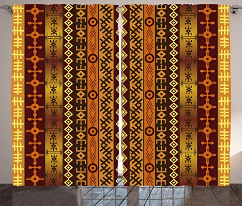 Ambesonne Tribal Curtains, African Motif with Ethnic Effects and Traditional Cultural Folk Design, Living Room Bedroom Window Drapes 2 Panel Set, 108W X 84L inches, Orange Burgundy Gold