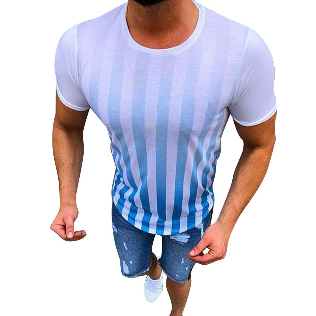Men's Striped Short Sleeve Top, Casual New Stripe Printed Cotton T-Shirts Summer Fashion and Comfortable Blouse Top (Blue, S)