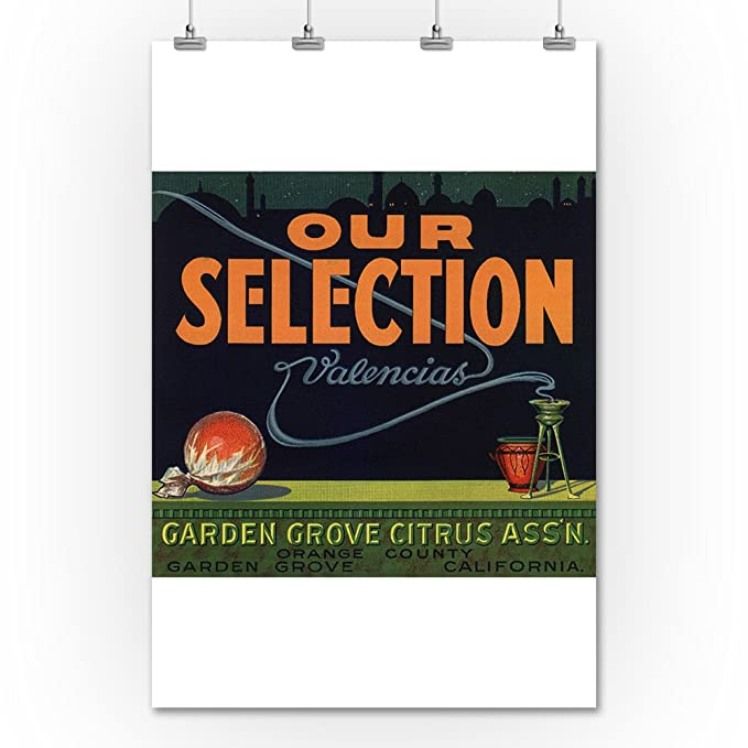 Amazon.com: Our Selection Brand - Garden Grove, California - Citrus Crate Label (36x54 Giclee Gallery Print, Wall Decor Travel Poster): Arts, ...