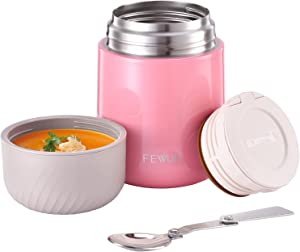 Food Thermos - 20oz Vacuum Insulated Soup Container, Stainless Steel Lunch box for Kids Adult, Leak Proof Food Jar with Folding Spoon for Hot or Cold Food (Pink)