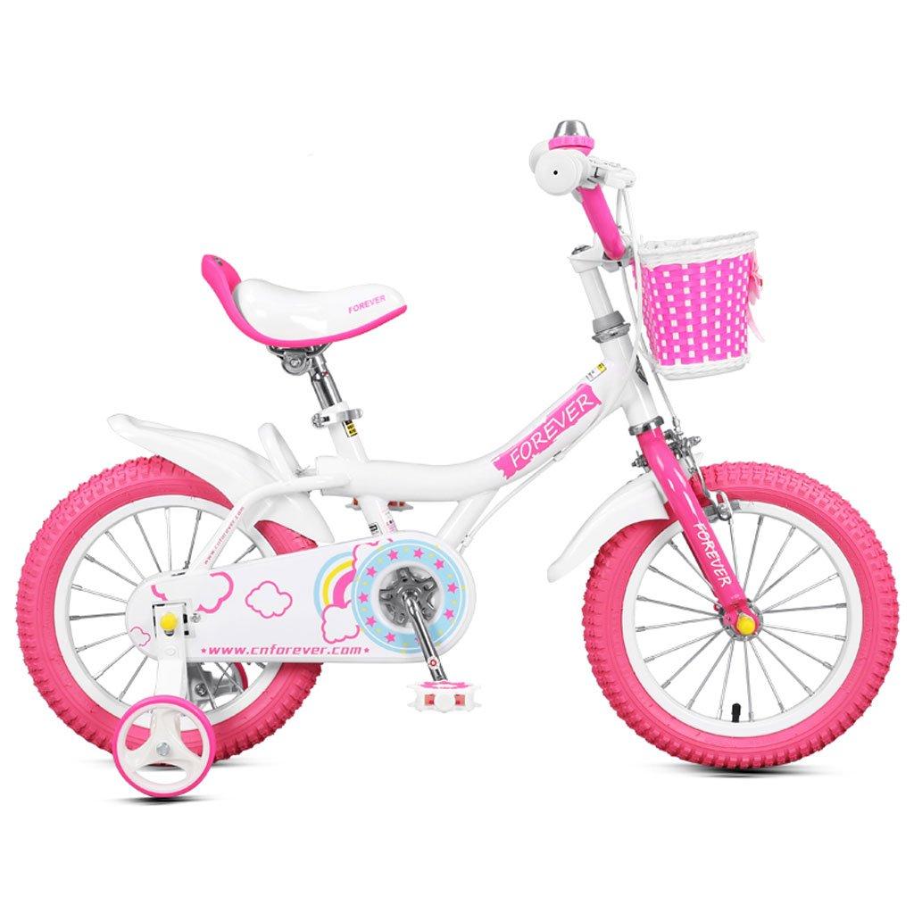 子供用自転車5-10歳の赤ちゃんバイク18インチの赤ん坊のキャリッジ高炭素鋼の男の子と女の子の自転車、白ピンク/黄色 (Color : White pink) B07CVVLM91