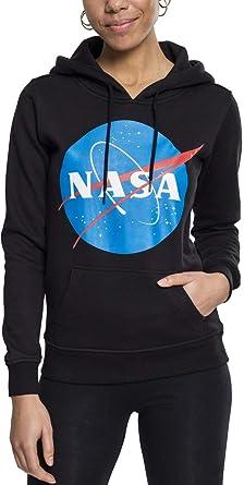 Mister Tee Ladies NASA Insignia Hoodie Damen Streetwear Kapuzenpullover in den Farben Schwarz und Grau, Größe XS bis XL